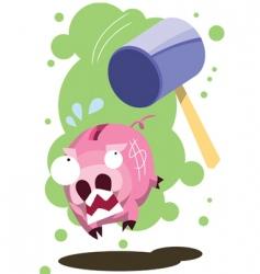Pig hit hammer vector