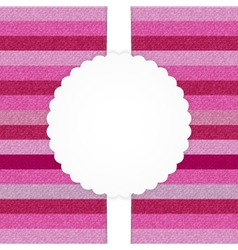 Pink horizontal stripped jeans card vector