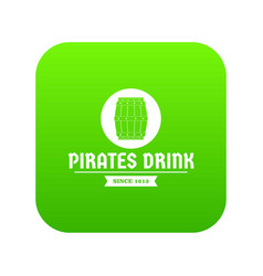 pirate barrel icon green vector image