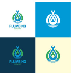 plumbing services logo and icon vector image