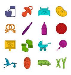Pregnancy symbols icons doodle set vector