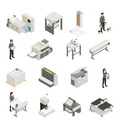 Printing house isometric icons set vector