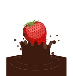 Red ripe strawberry drops in liquid hot chocolate vector image