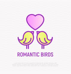 romantic birds thin line icon vector image