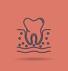 root tooth in the gum - sectional view vector image