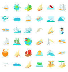 Saline water icons set cartoon style vector