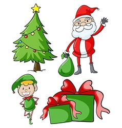 Santa and elf by the christmas tree vector image