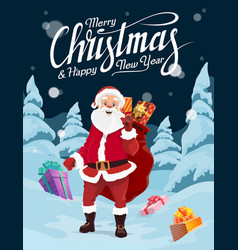 santa with christmas gifts in winter snow forest vector image