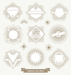 set line design emblem and hipster labels vector image
