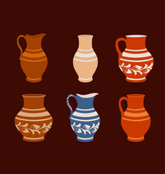 set of ceramic crockery collection jugs in vector image