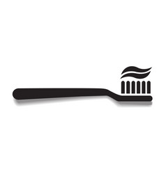Simple black toothbrush icon with shadow dentist vector