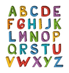 Sketch alphabet font colored vector image