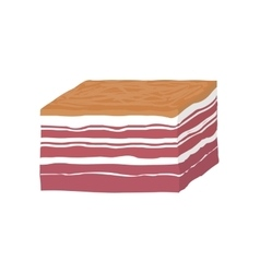 Smoked piece of lard bacon vector image