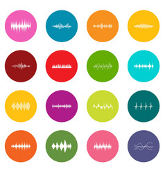 sound wave icons many colors set vector image