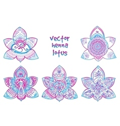 Tattoo henna lotus vector