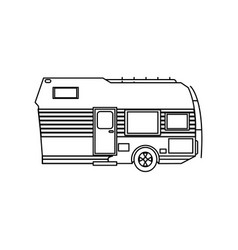 Travel trailer camping transport cabin outline vector