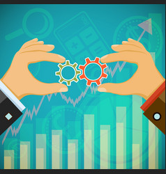 two businessmen hold in their hands the gears vector image