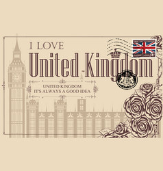 Vintage postcard with the big ben in london vector
