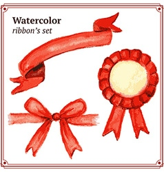 Watercolor ribbons set in vintage style vector image vector image