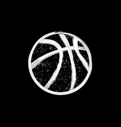 White grunge dotted basketball vector