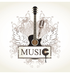 wings with guitar vector image vector image