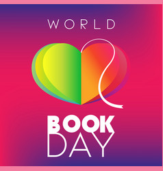 World book day poster with heart-shape open book vector