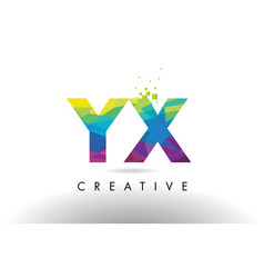 Yx y x colorful letter origami triangles design vector