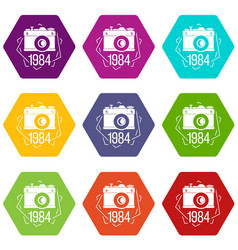 1984 photo camera icons set 9 vector image