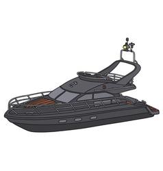 Black motor yacht vector image