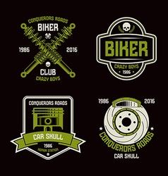 Car repair and biker club emblems vector