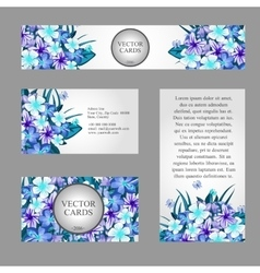 Cards with texture of blue flowers and sample text vector image vector image