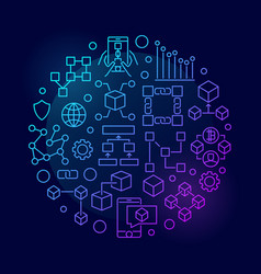 colorful blockchain concept circular symbol vector image vector image