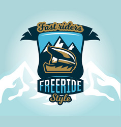 colorful logo emblem sticker extreme cyclist vector image vector image