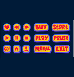 Hand drawn 3d web buttons for the player like vector