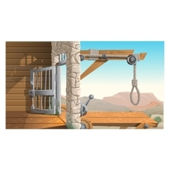 Location of prison and scaffold in wild west vector