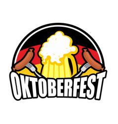 oktoberfest sausage and beer logo emblem for vector image vector image