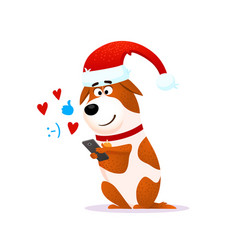 funny cartoon dog portrait with mobile phone vector image