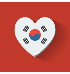Heart-shaped icon with flag of south korea vector