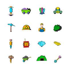 mining industry icons set cartoon vector image