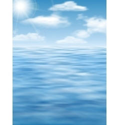 sky sun and water surface background vector image vector image