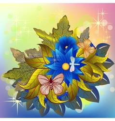 Autumn flower bunch with butterflies and dragonfly vector image vector image