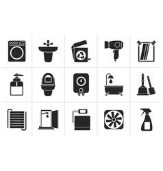 Black Bathroom and toilet objects and icons vector image vector image