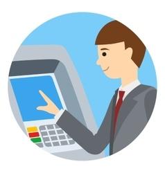 Businessman using atm machine vector