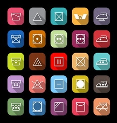 Fabric care line icons with long shadow vector image vector image
