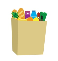 Food in a paper bag vector image vector image