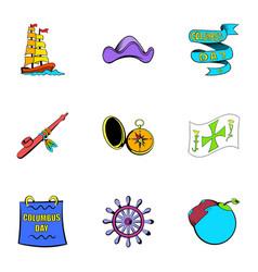 ocean travel icons set cartoon style vector image vector image