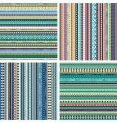 Set of colorful ethnic seamless patterns vector image vector image
