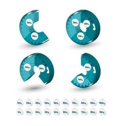 three dimensional circle gear chart vector image