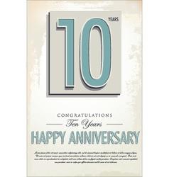 10 years anniversary retro background vector image