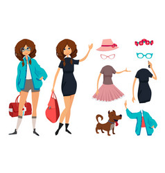 character of hipster young girl with glasses vector image vector image